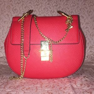 Circle Round Leather Crossbody Bag with Chain